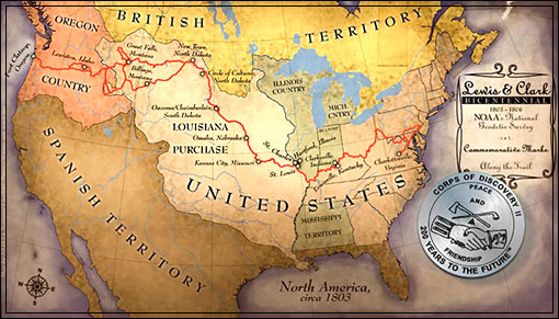 LEWIS AND CLARK ROUTE MAP, CORPS OF DISCOVERY