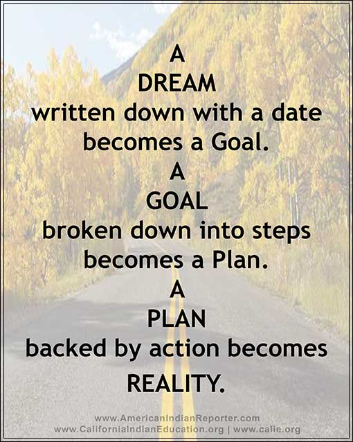 A DREAM written down with a date becomes a Goal. A GOAL broken down into steps becomes a Plan. A PLAN backed by action becomes REALITY.?REALITY.
