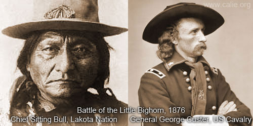 Chief Sitting Bull With General George Custer Battle of Little Bighorn