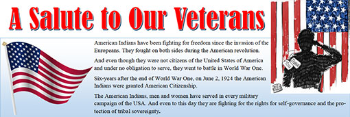 American Indians have been fighting for freedom since the invasion of the Europeans. They fought on both sides during the American revolution.  And even though they were not citizens of the United States of America and under no obligation to serve, they went to battle in World War One.  Six-years after the end of World War One, on June 2, 1924 the American Indians were granted American Citizenship.  The American Indians, men and women have served in every military campaign of the USA. And even to this day they are fighting for the rights for self-governance and the protection of tribal sovereignty.
