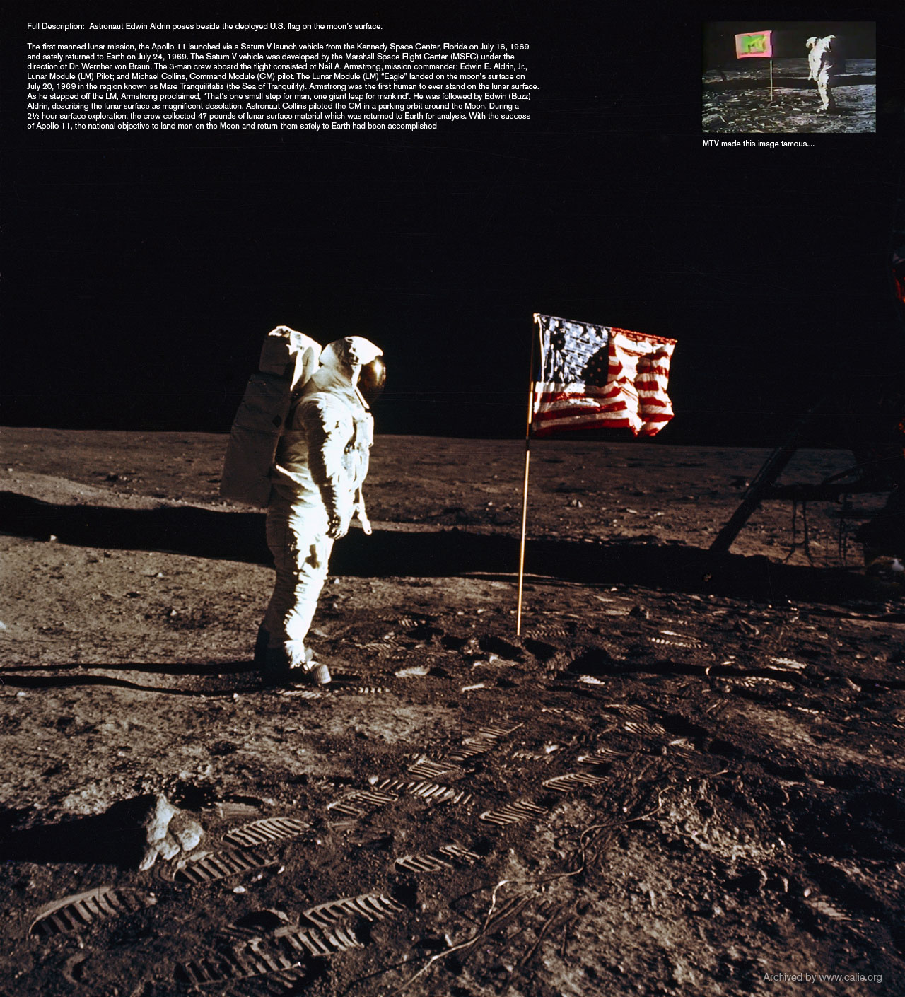 FIRST MAN ON MOON WITH AMERICAN FLAG Pictures Loading...